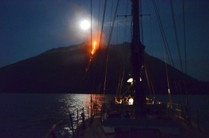Dinner on board between the Moon and Lava