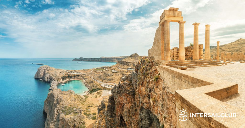 Acropolis of Lindos. Ancient architecture of Greece. Travel destinations of Rhodes island